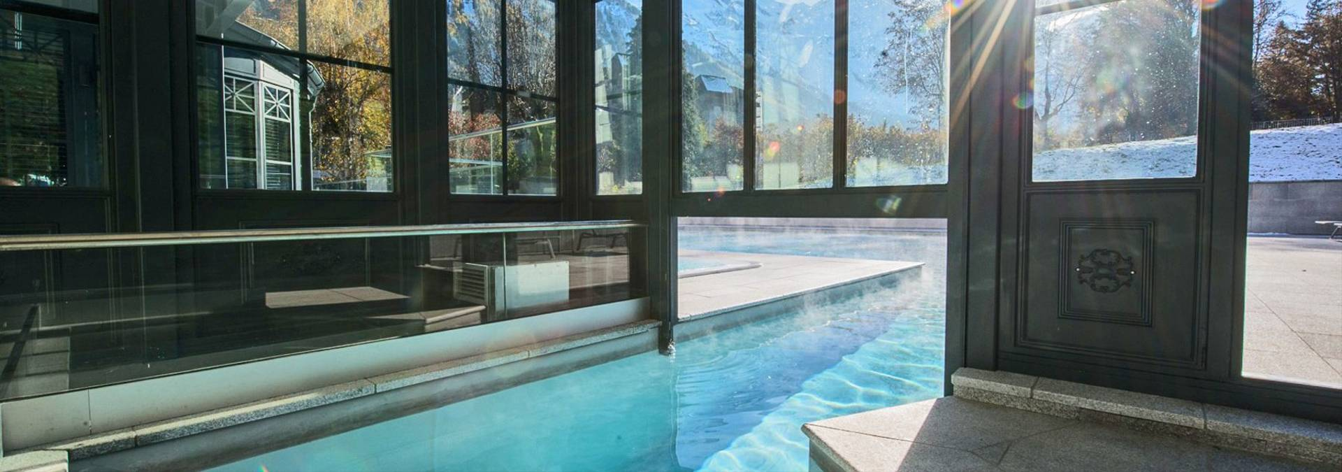 hotel pool for a weekend in chamonix